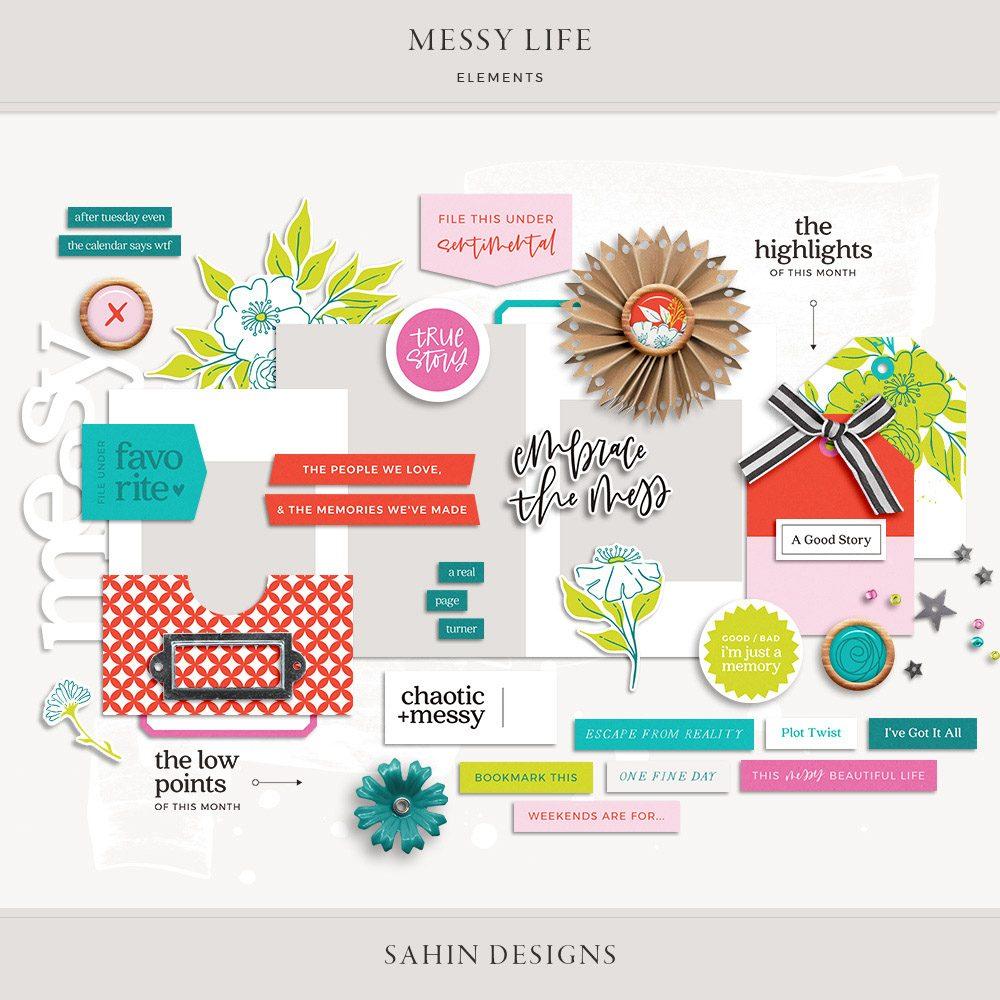 Messy Life Digital Scrapbook Elements - Sahin Designs