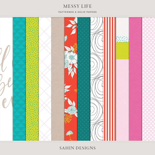 Messy Life Digital Scrapbook Papers - Sahin Designs