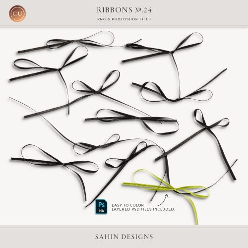 Extracted black thin ribbons - Sahin Designs - CU Digital Scrapbook