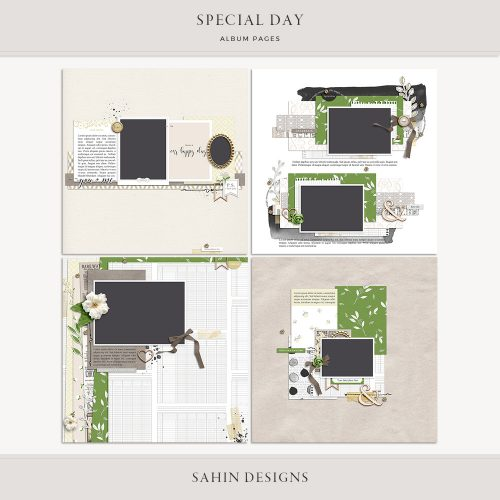 Special Day Digital Scrapbook Album Pages - Sahin Designs