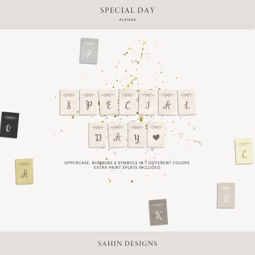 Special Day Digital Scrapbook Alphas - Sahin Designs