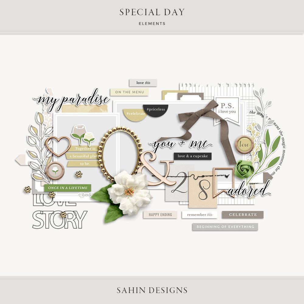 Special Day Digital Scrapbook Elements - Sahin Designs