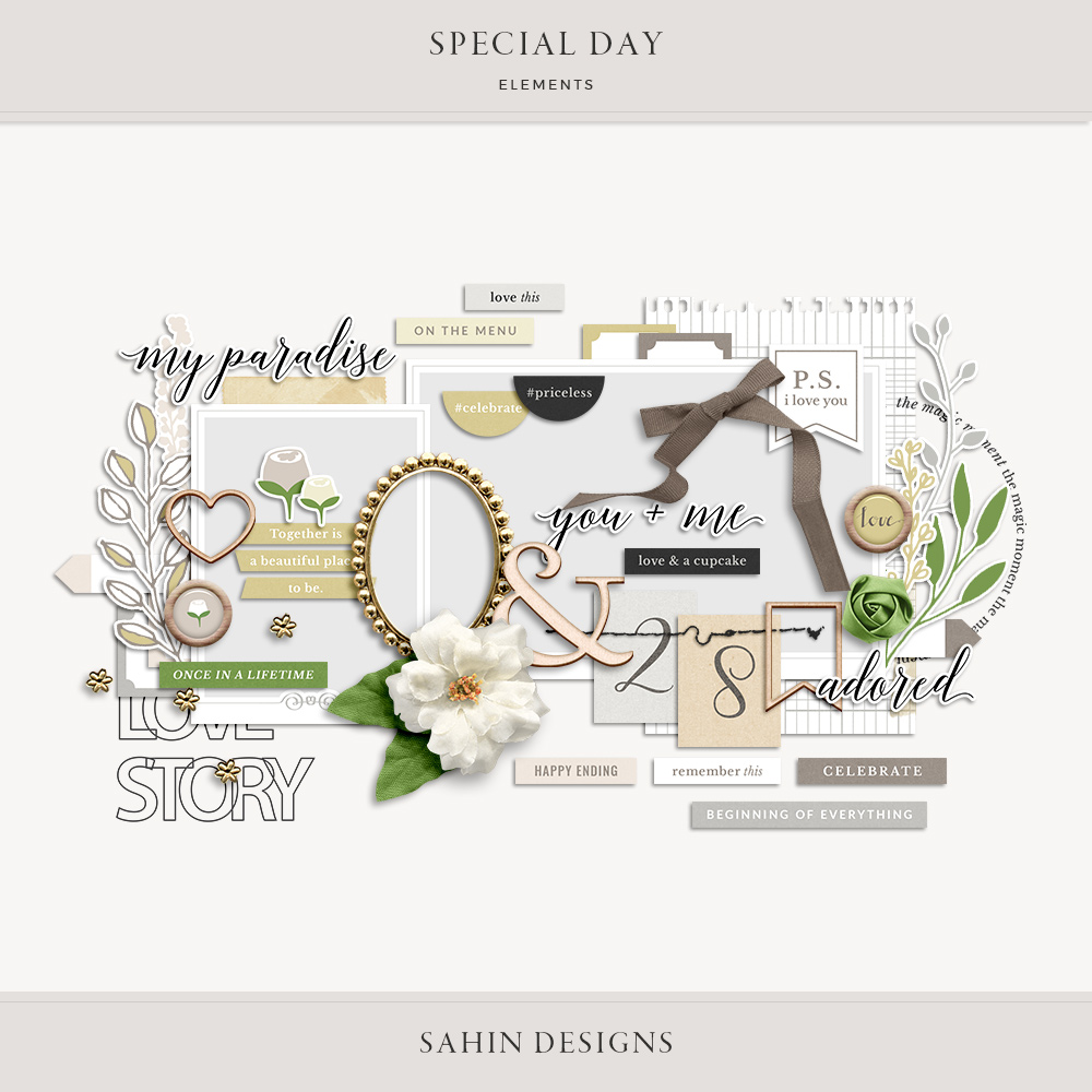 Special Day Digital Scrapbook Elements - Sahin Designs