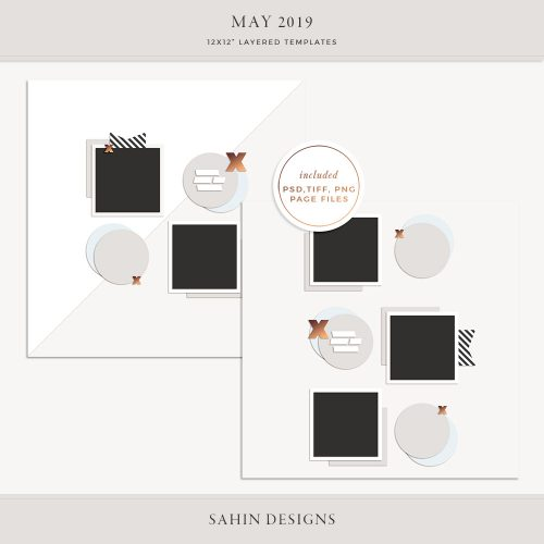 May 2019 Digital Scrapbook Layout Template/Sketch - Sahin Designs