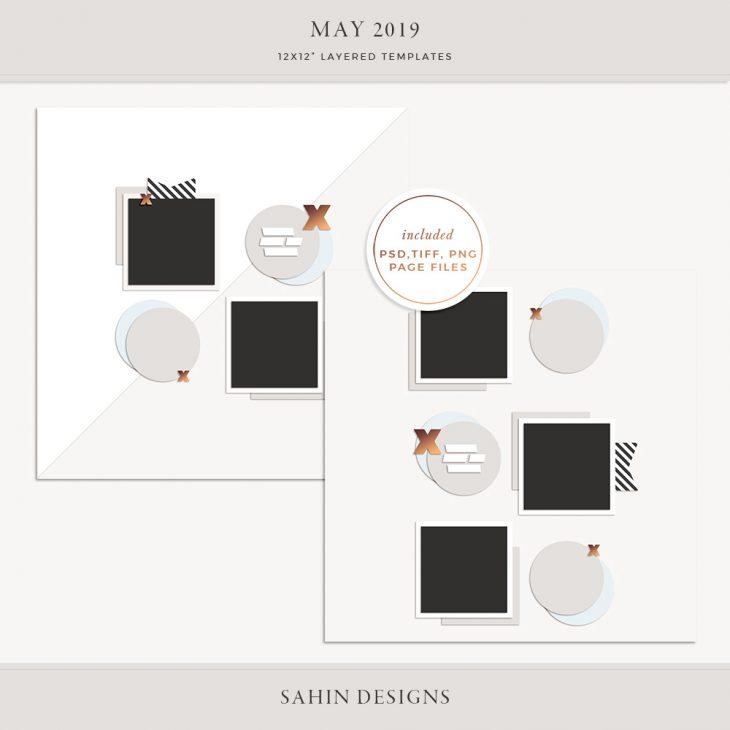 May 2019 Digital Scrapbook Layout Template/Sketch - Sahin Designs