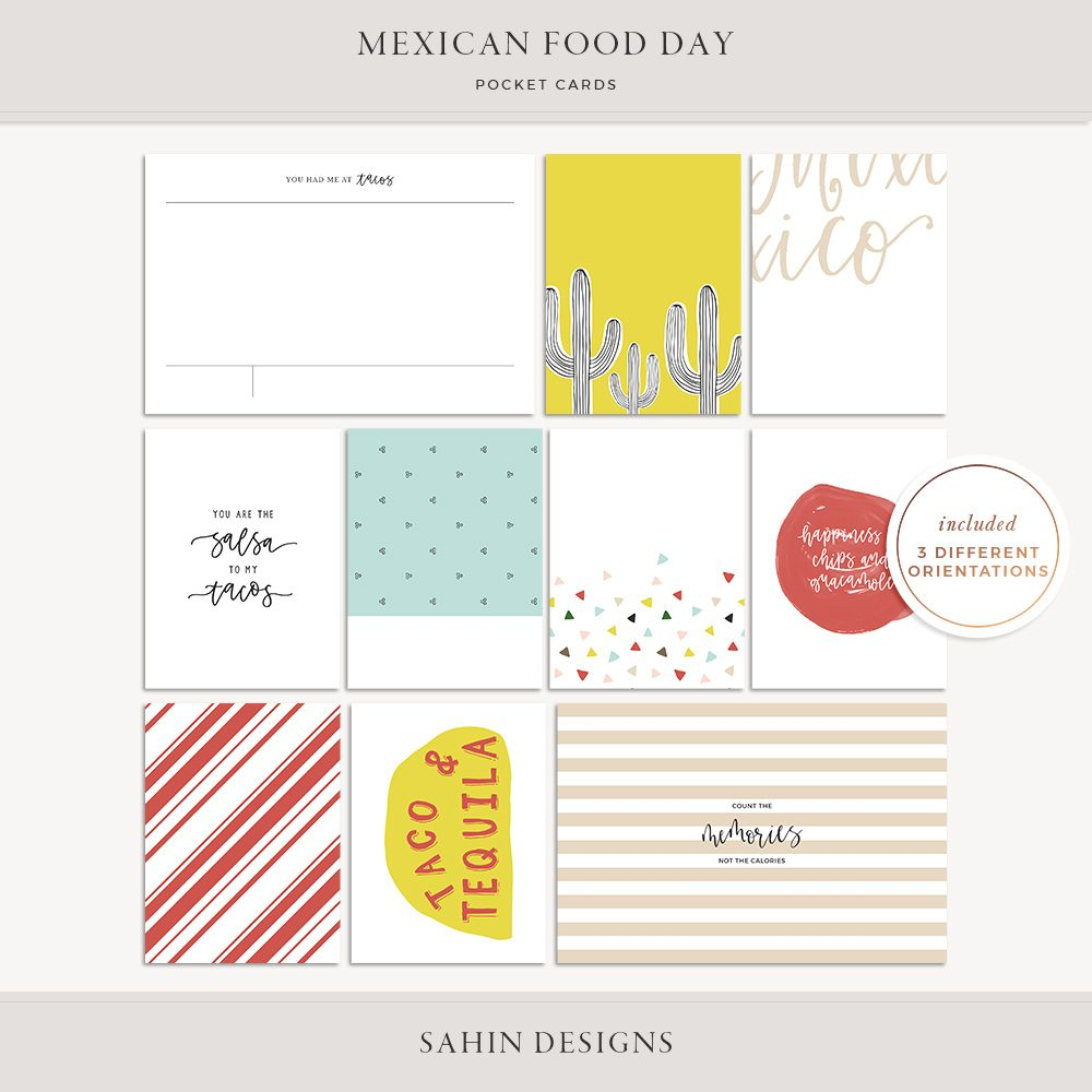 Mexican Food Day Printable Pocket Cards - Sahin Designs