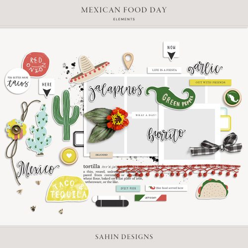 Mexican Food Day Digital Scrapbook Elements - Sahin Designs