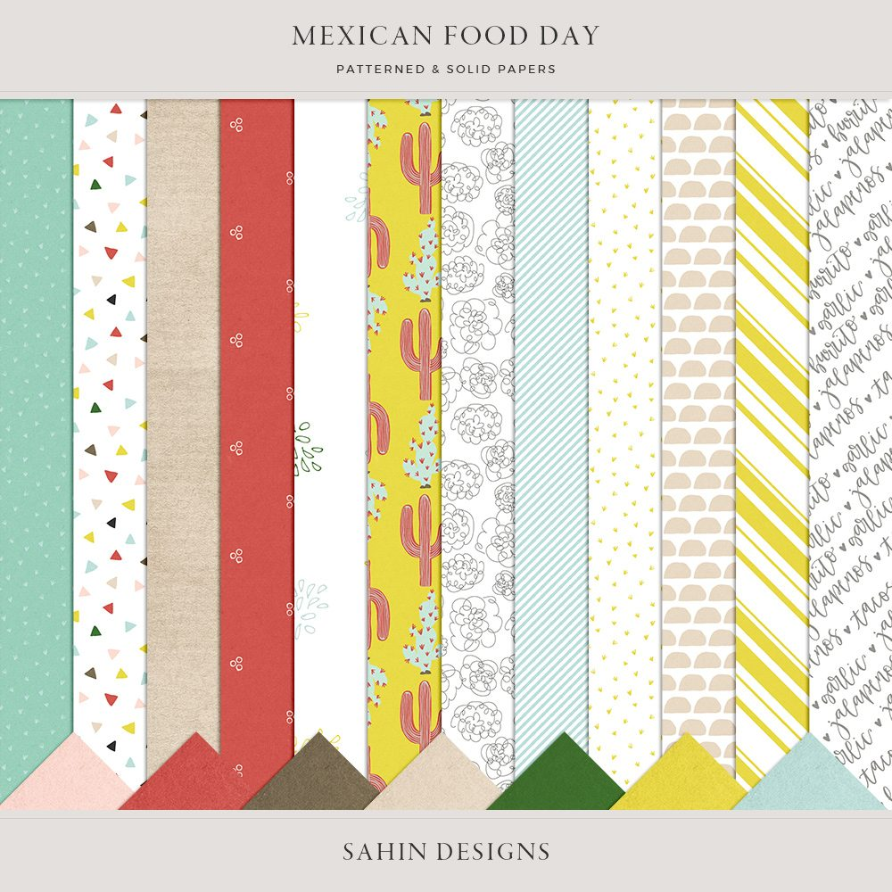 Mexican Food Day Digital Scrapbook Papers - Sahin Designs