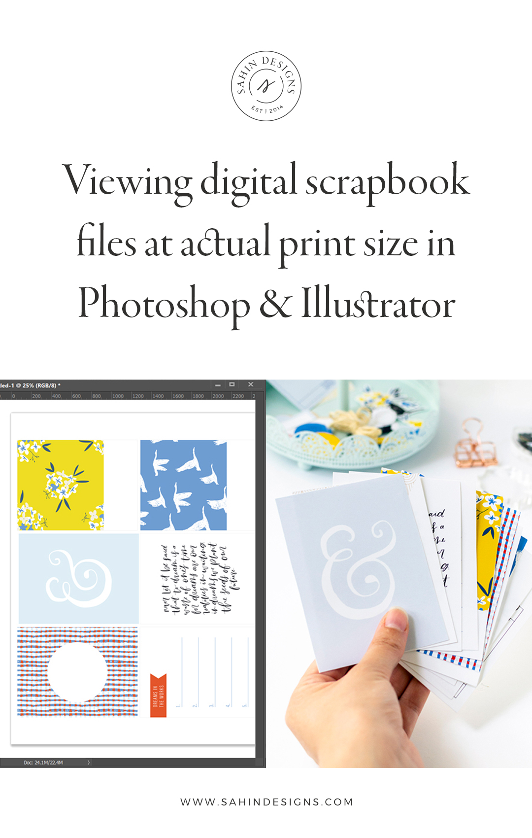 actual print size, Photoshop print size, Illustrator print size, scrapbook tip