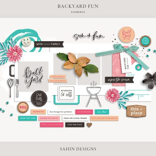Backyard Fun Digital Scrapbook Elements - Sahin Designs