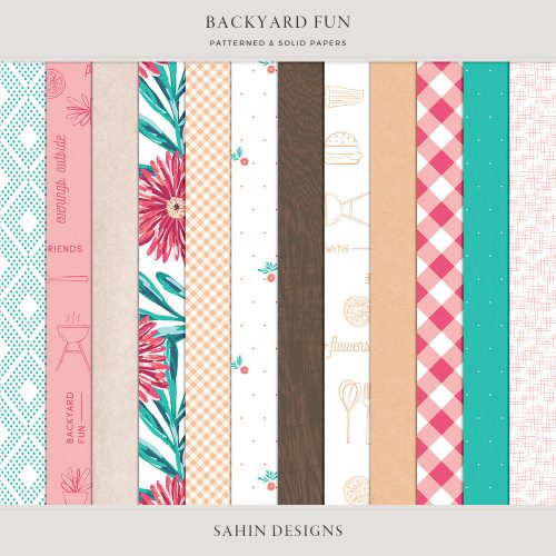Backyard Fun Digital Scrapbook Papers - Sahin Designs