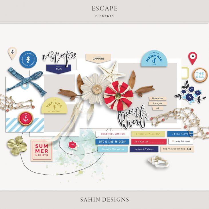 sahin designs, summer scrapbook supplies, scrapbooking supplies, scrapbook paper, hybrid scrapbooking, digital ephemera,