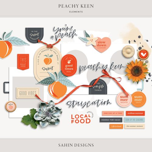 Peachy Keen Digital Scrapbook Elements - Sahin Designs
