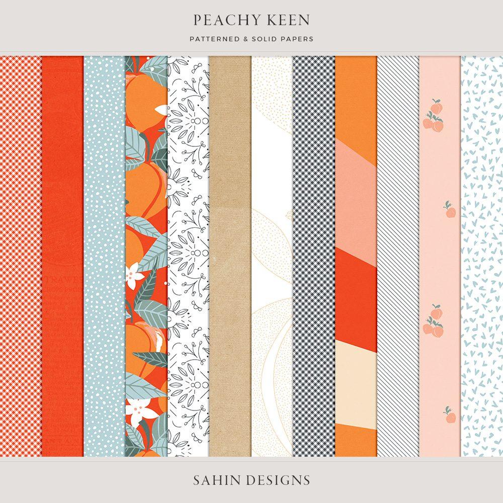 Peachy Keen Digital Scrapbook Papers - Sahin Designs