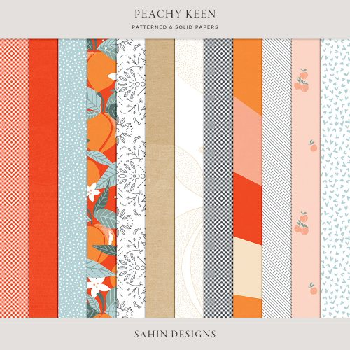 Peachy Keen Digital Scrapbook Papers - Sahin Designs