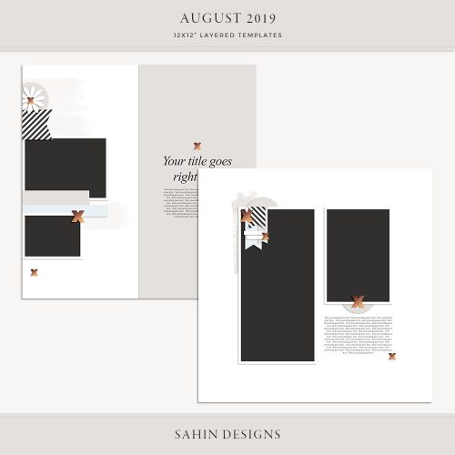 August 2019 Digital Scrapbook Layout Template/Sketch - Sahin Designs