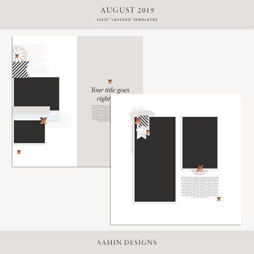 August 2019 Digital Scrapbook Layout Template/Sketch - Sahin Designs