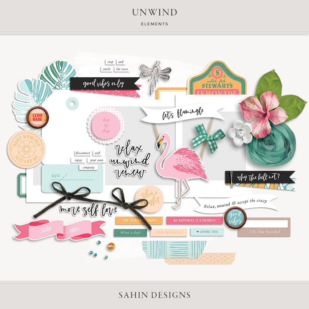 Unwind Digital Scrapbook Elements -Sahin Designs