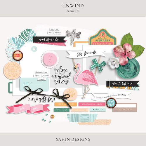 Unwind Digital Scrapbook Elements -Sahin Designs