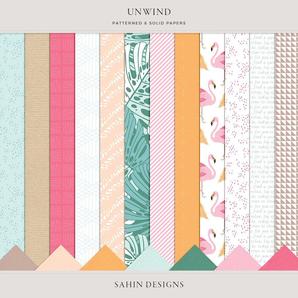 Unwind Digital Scrapbook Papers -Sahin Designs