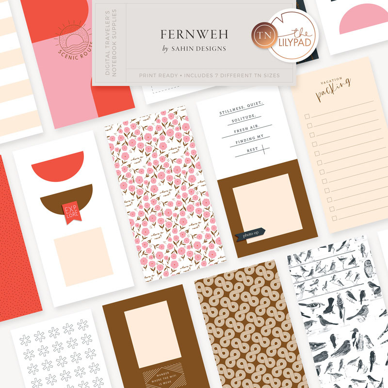 travelers notebook, printable travelers notebook, digital scrapbooking, scrapbooking, printable scrapbook supply, scrapbook kit, sahin designs