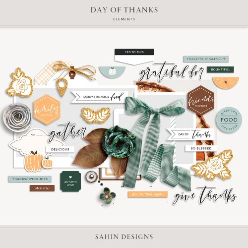 sahin designs, digital scrapbooking, digital scrapbook, digital scrapbook supplies, printable scrapbook supplies, scrapbooking supplies, hybrid scrapbooking, scrapbook embellishments, thanksgiving, thanksgiving scrapbook supplies,