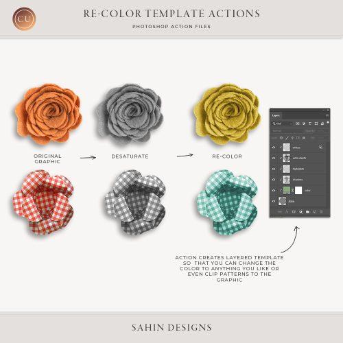 digital scrapbooking, designer resources, commercial use digital scrapbook, Photoshop action, recolor Photoshop action,