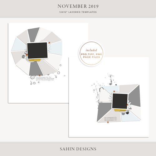 November 2019 Digital Scrapbook Layout Template/Sketch - Sahin Designs