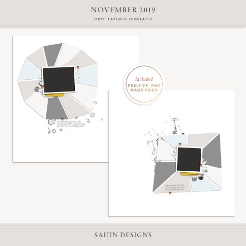 November 2019 Digital Scrapbook Layout Template/Sketch - Sahin Designs
