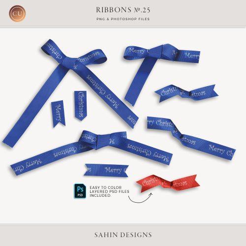 Extracted Christmas Ribbons - Sahin Designs - CU Digital Scrapbook