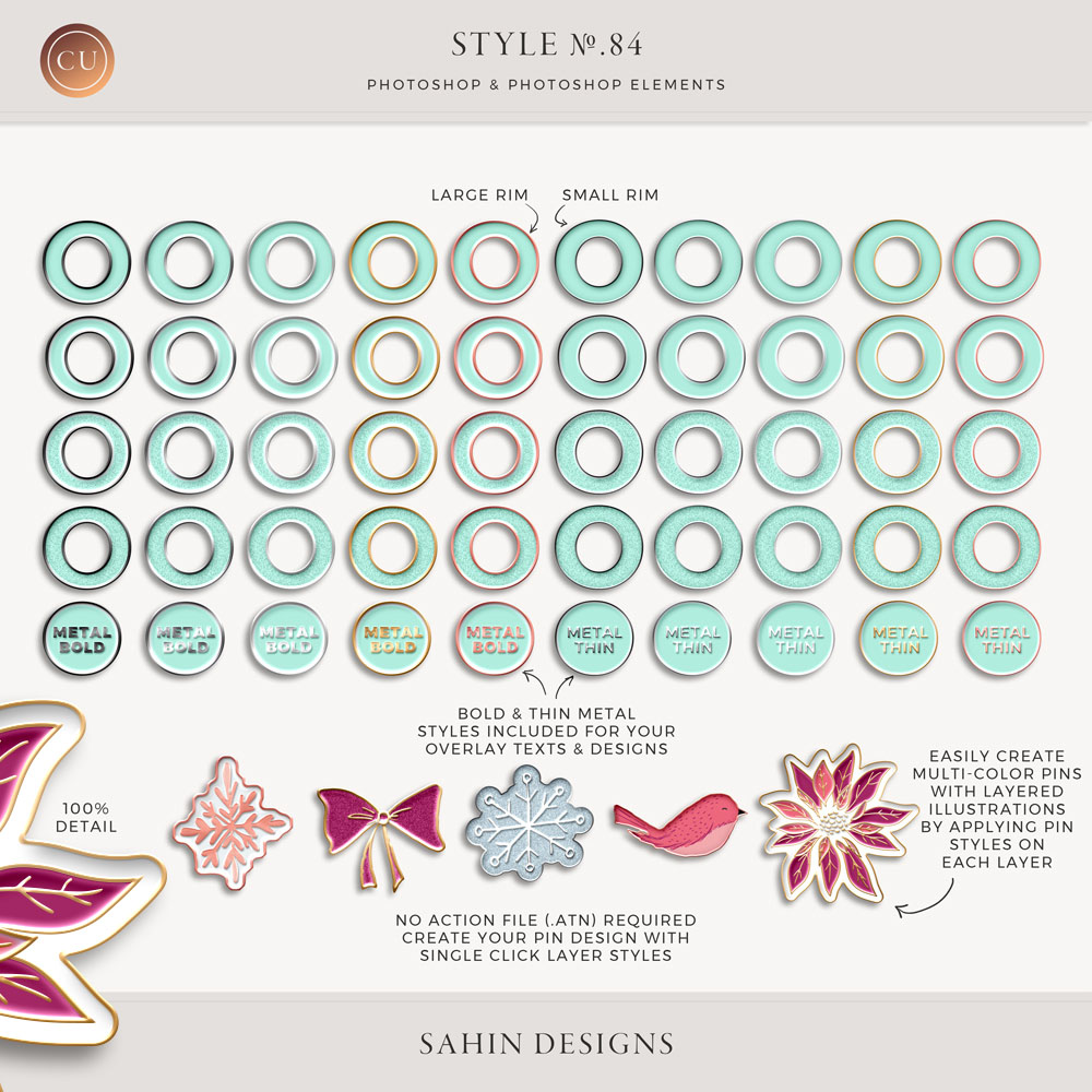 Enamel Pin Photoshop Layer Styles - Sahin Designs