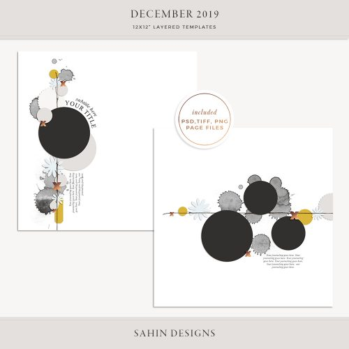 December 2019 Digital Scrapbook Layout Template/Sketch - Sahin Designs