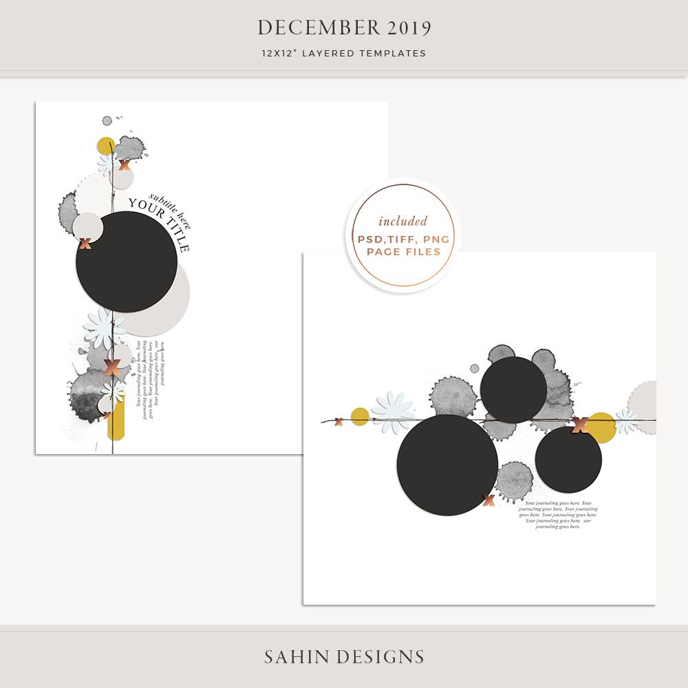 December 2019 Digital Scrapbook Layout Template/Sketch - Sahin Designs