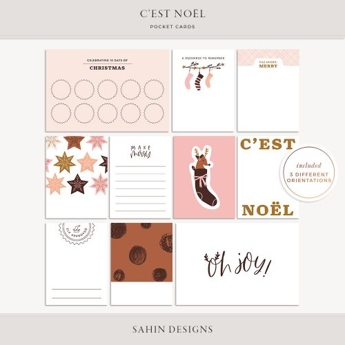 C'est Noël Printable Pocket Cards - Sahin Designs - Digital Scrapbook
