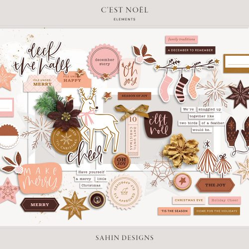C'est Noël Digital Scrapbook Elements - Sahin Designs