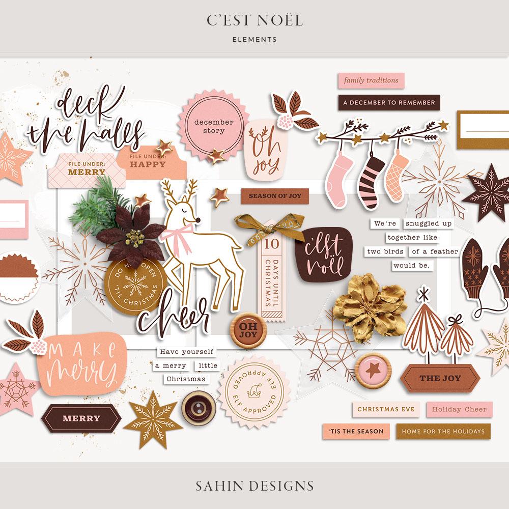 C'est Noël Digital Scrapbook Elements - Sahin Designs