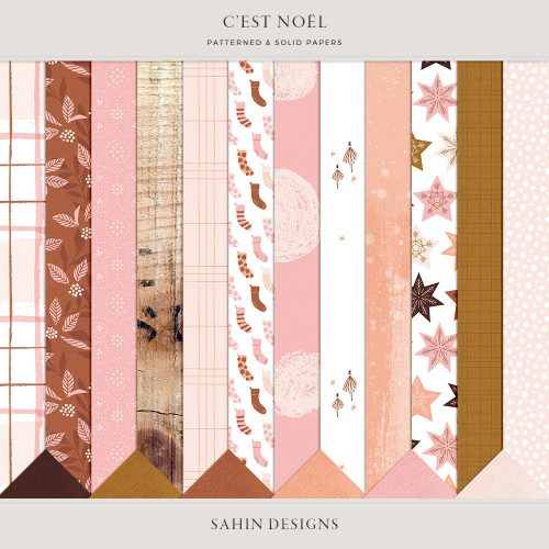 C'est Noël Digital Scrapbook Papers - Sahin Designs