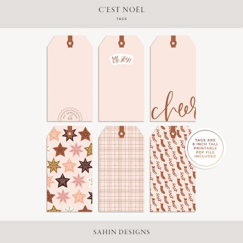 C'est Noël Digital Scrapbook Tags - Sahin Designs