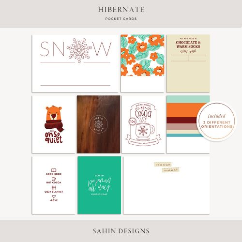 Hibernate Printable Pocket Cards - Sahin Designs
