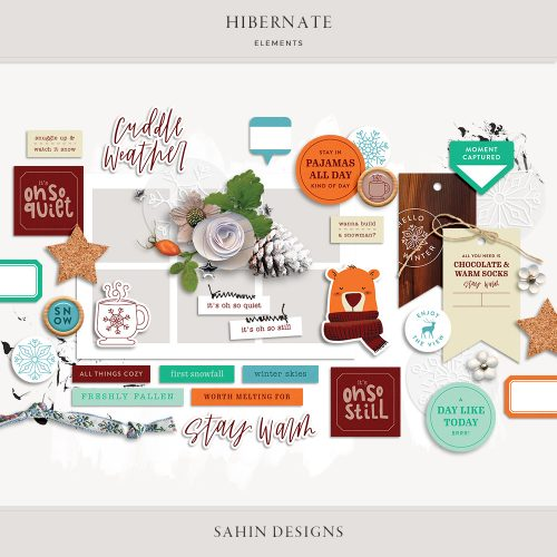 Hibernate Digital Scrapbook Elements - Sahin Designs
