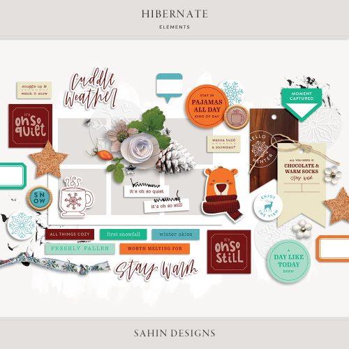 Hibernate Digital Scrapbook Elements - Sahin Designs