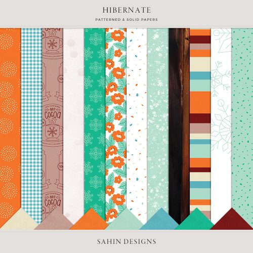 Hibernate Digital Scrapbook Papers - Sahin Designs