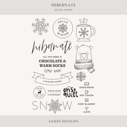 Hibernate Digital Scrapbook Stamps - Sahin Designs