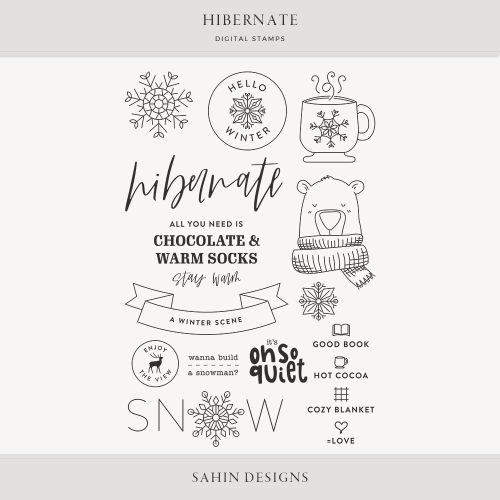 Hibernate Digital Scrapbook Stamps - Sahin Designs