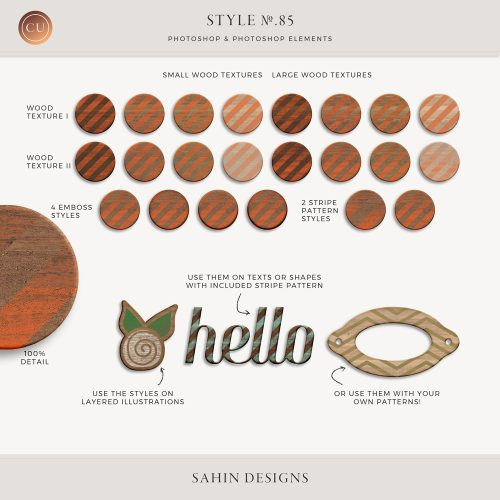 Painted wood Photoshop layer styles - Sahin Designs - CU Digital Scrapbook