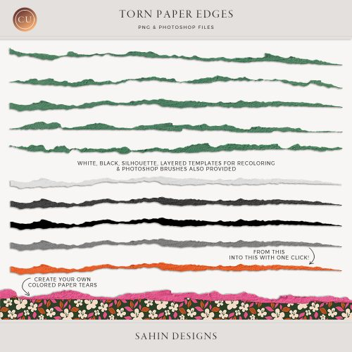Extracted torn paper edges - Sahin Designs - CU Digital Scrapbook