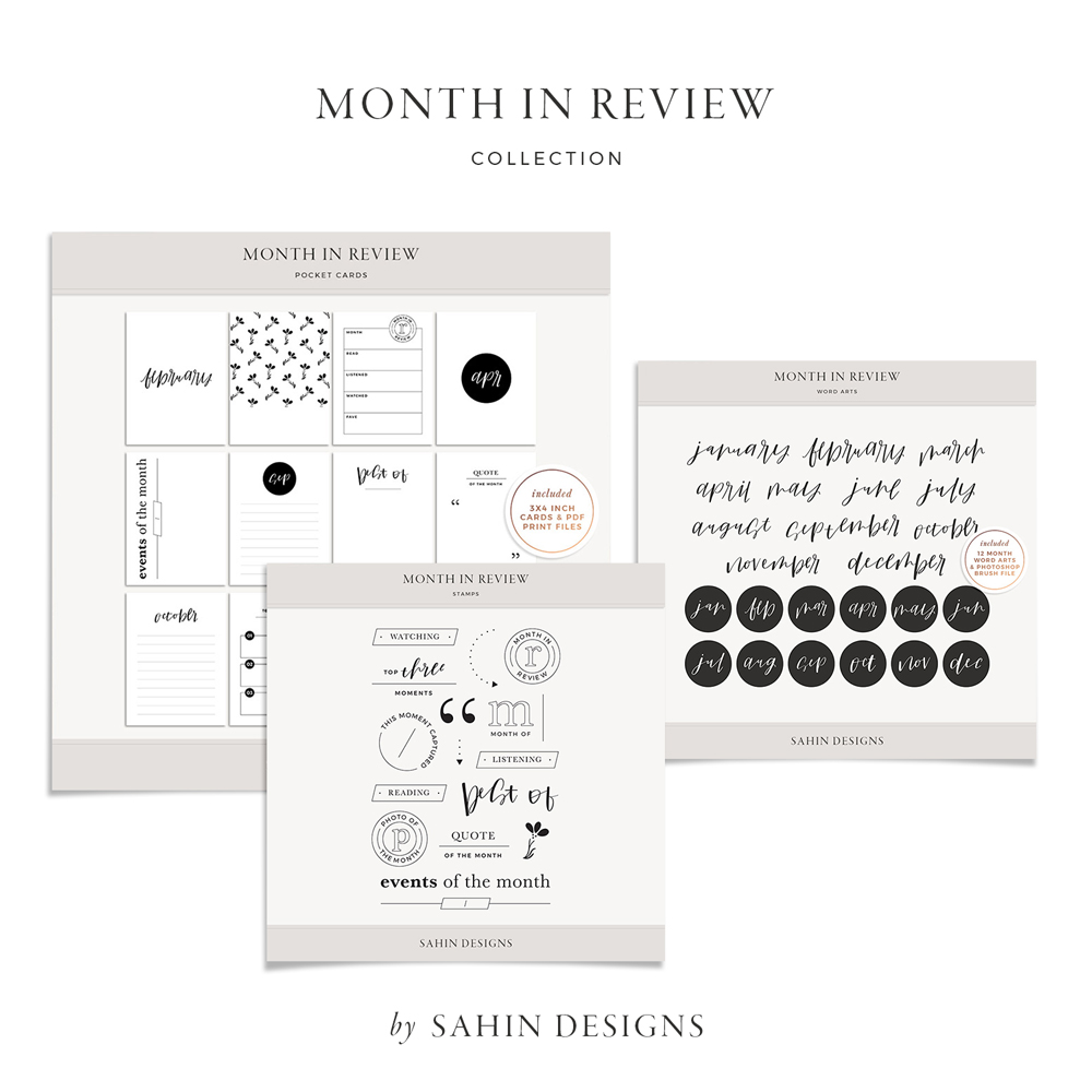 Month in Review Digital Scrapbook Collection - Sahin Designs