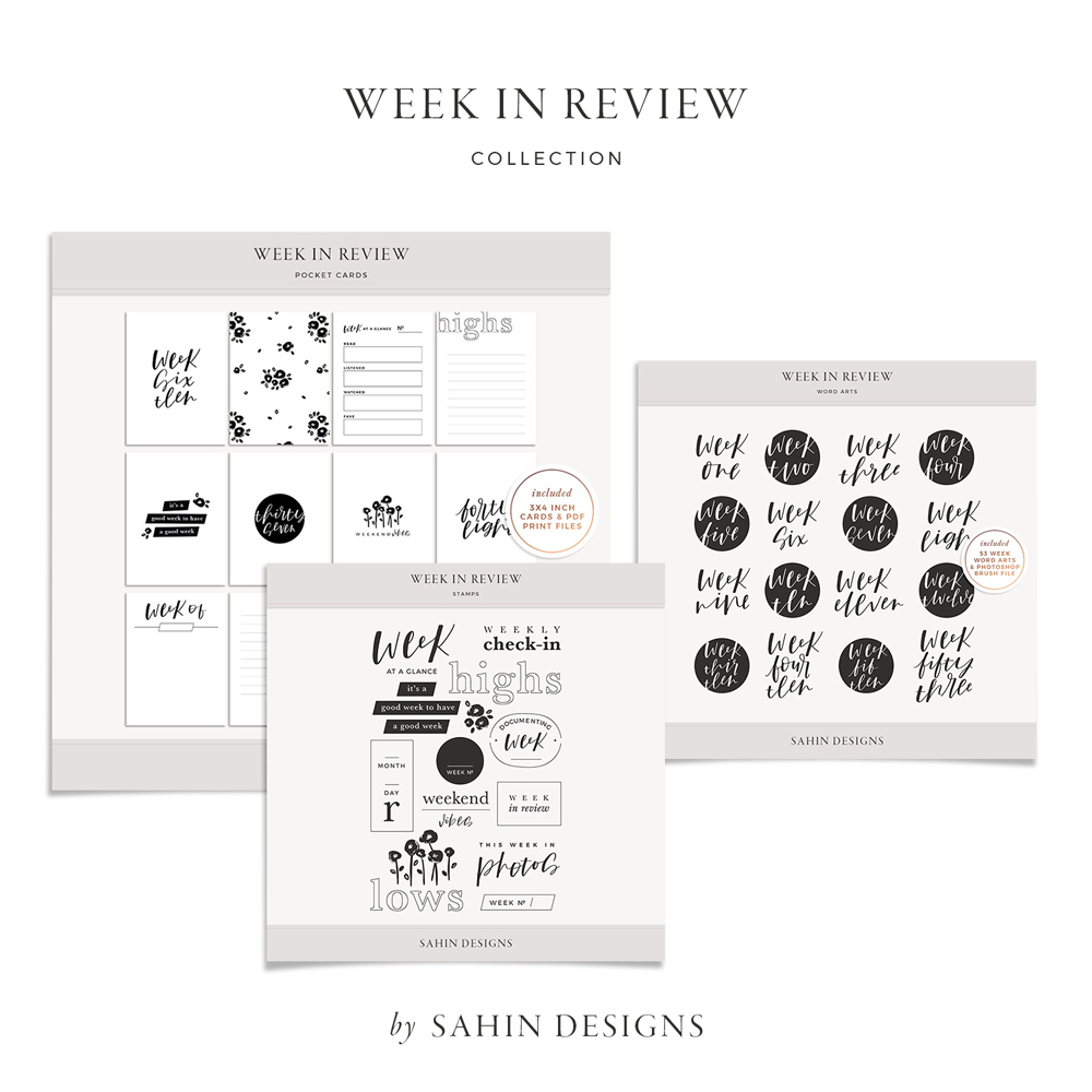 Week in Review Digital Scrapbook Collection - Sahin Designs