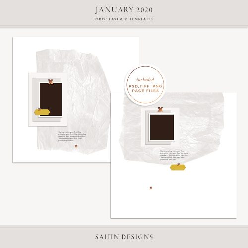 January 2020 Digital Scrapbook Layout Template/Sketch - Sahin Designs