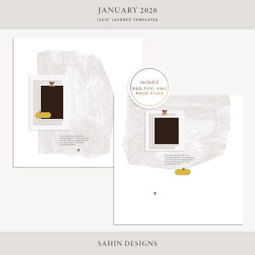 January 2020 Digital Scrapbook Layout Template/Sketch - Sahin Designs